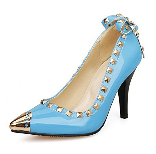 AgooLar Femme Stylet Couleur Unie Pointu Chaussures Légeres Bleu