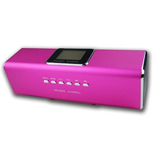 Geschenk für musikbegeisterte Mädchen Music Angel Lautsprecher 6in1, Mobile Outdoor Boxen, Mini Smartphone Box, Handy Speaker mit Akku, Display, USB Anschluss, Radio, Line-In Eingang, Wecker uvm.