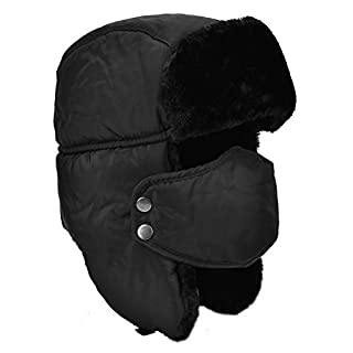 DOXHAUS Unisex Winter Ear Flap, Trooper, Trapper, Bomber Hat, Keeping Warm While Skating, Skiing or Other Outdoor Activities, Black