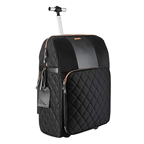 Cabin Max Travel Hack Pro Trolley de Cabine Noir avec Détails Rose Gold 55 x 40 x 20 cm avec Poche Cache Sac à Main, Compartiment pour Ordinateur et Macbook - Valise roulettes pour Femme