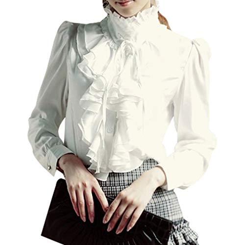 Vintage Langarm Lotus Rüschenbluse Frauen Viktorianische Stehkragen Tops Damen Mode Reine Farben Slim Büro Casual Hemdbluse Große Größen Shirts Schwarz/Weiß
