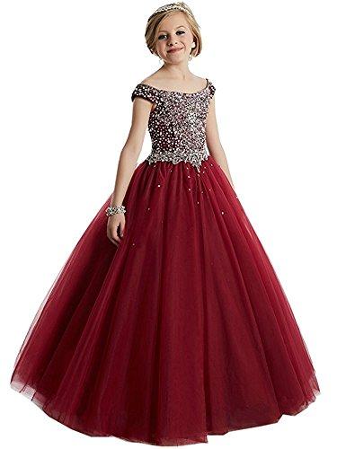 Carnivalprom Mädchen Blumenmädchenkleider Bodenlanges Erste Kommunikation Kleider Prinzessin Perlstickerei Brautjungfern Kleid Festzug Kleid(Burgundy,6-7 jahre)
