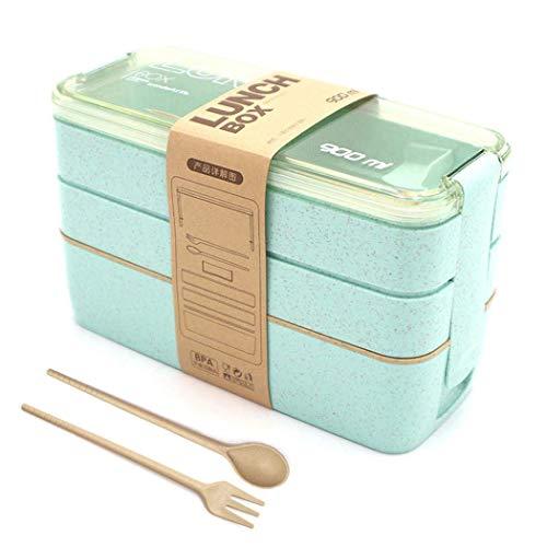 LAKIND Lunchbox Brotdose Bento Box Vesperdose für Kinder und Erwachsene Mit 3 Fächern Auslaufsicher Mikrowelle Gefertigt aus Weizen Biologisch Abbaubar Plastikfrei BPA Frei(Grün)