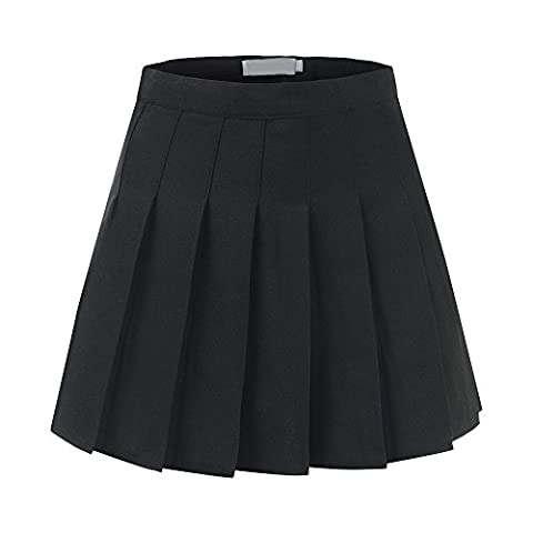 School Pleat Uniform Pleated skirt Slim Thin Pleated Skater Tennis Skirts Mini Dress With Inner Shorts (UK 10 (Tag L), Black)