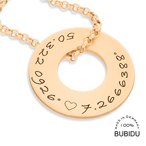 Namenskette rose Gold 925 Silber Gravur Namen Koordinaten ❤️ Schmuck Goldkette Kette ❤️ Koordinatenschmuck rotgold Geschenk Damenkette schlicht modern   HANDMADE IN GERMANY