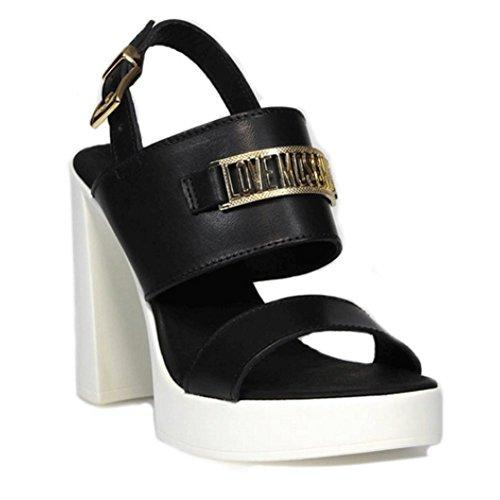 LOVE MOSCHINO Sandalo Donna Pelle Gomma Nero Bianco JA1603BG11IF0000