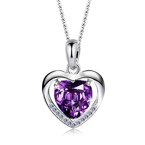 ANGRIZIJUN Frauen Halskette 925 Sterling Silber mit Kristall Herz Anhänger mit Kubikzircon Diamanten Valentinstag für Tochter Mutter Frau Freundin,Purple - Diamant-logo-t-shirt