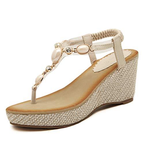 Sandali con tacco a zeppa stile boemo etnico da donna tacchi eleganti dolce infradito con gemme scarpe piattaforma per donna estate