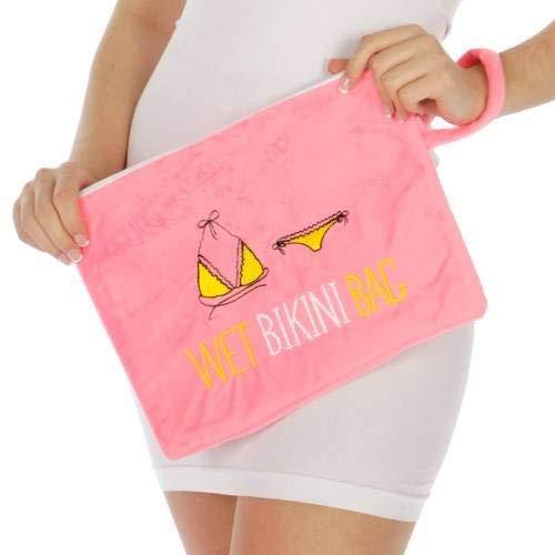Wet Swimsuit Bag, Wet Tasche Bikini, wasserdicht Wet Tasche mit wasserdicht, umweltfreundlich Baumwolle Handtuch Strand Tote, Tasche, Gepäck, hot pink