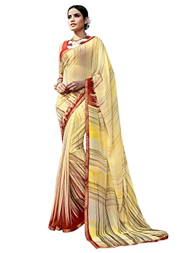 Sarees (Vastrang Sarees Womens Yellow Colour Digital Printed Major Georgette Designer Part Wear Saree with Fancy Lace Border and Orange Colour Banglori+Net Blouse Piece_VS520012050)  available at amazon for Rs.999