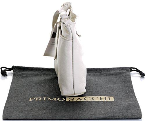Italiano in morbida pelle, piccolo cinturino fronteggiato triplo vano cinghia regolabile croce corpo o borsa a tracolla.Include una custodia protettiva marca. Crema