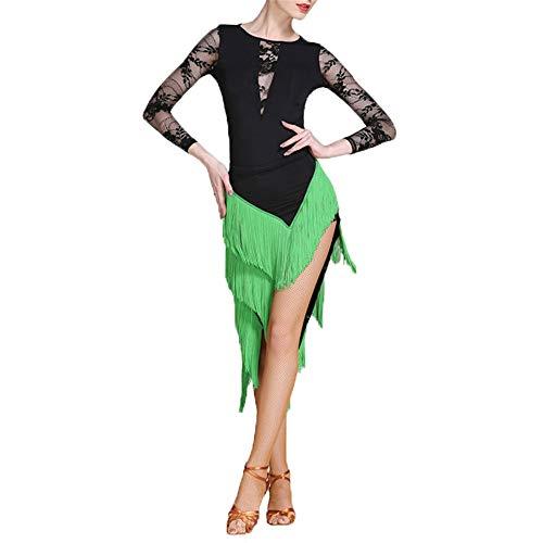 Lyrical Kostüm Wettbewerb Dance - WyaengHai Bauchtanz Kleid Damen Latin Dance Professional Performance Lyrical Kleid Fransen Rock Dance Kostüm Wettbewerb Kleid Set Damentanzkostüm (Farbe : Grün, Größe : M)