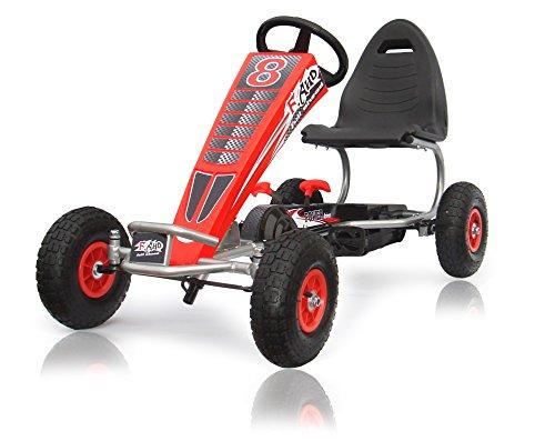 Joy 4enfants Kids Go Kart à Pédale, porteur voiture à pédale, Go Chariot, pneus Air gonflable en caoutchouc 5–12ans F8–3Rouge