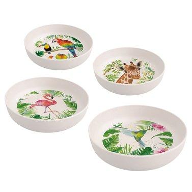 PPD 603350, Set de 4 bols - bambou écologique - motif: animaux tropicaux