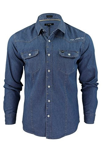 Firetrap Mens Denim Shirt Garrick' Western Vintage Wash Long Sleeve