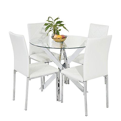 New chrom rund Glas Esstisch mit 4schwarz Kunstleder Esszimmerstuhl Stühle Set (weiß)