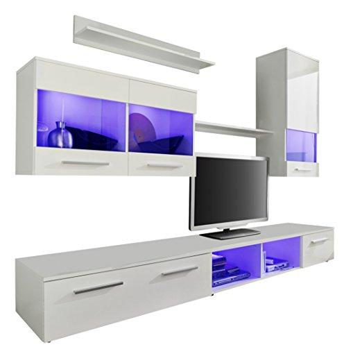 Moderne Schrankwand Weiß Glanz 250cm