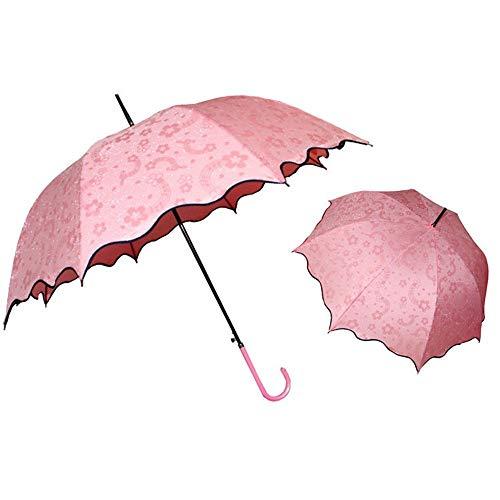 Rinalay Reine Farbe Langer Griff Regenschirm Biegen Sie Die Griff Automatisch Der Mode Living Blattrand Sonnigen Sonnenschirme Rot (Color : Rosa, Size : One Size) -