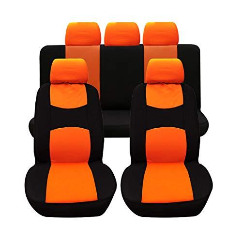 GODGETS Copri-sedili Auto Universale Set Completo/Set Copri-Sedile Universali per Anteriori e Posteriori/Accessori Auto Interno,Arancia Nera,2 * Seater Anteriore + 3 * Seater Posterio
