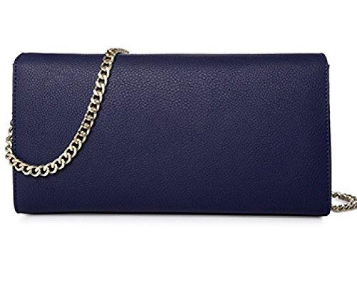 Frauen-echtes Leder-Beutel Kleine / Mikro-Kreuz-Körper-Schulter-Beutel-Handtaschen-Kupplungskette (7 Farben) Blue