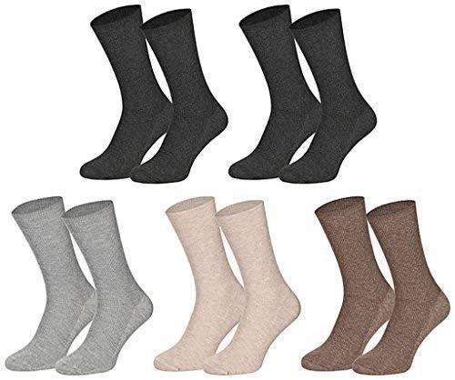 10 Paar Gesundheitssocken Baumwolle ohne Gummidruck für Damen und Herren, Farbe:Farbig sortiert;Größe:39-42