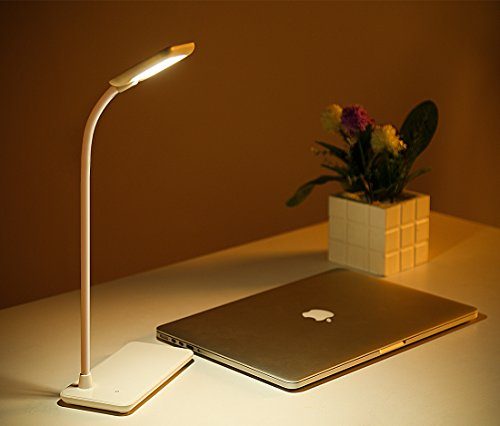 Foto de Lamparas LED Flexible lamparas de Mesa 3 Niveles Regulable Lámpara Escritorio Led USB Recargable.(Blanco)