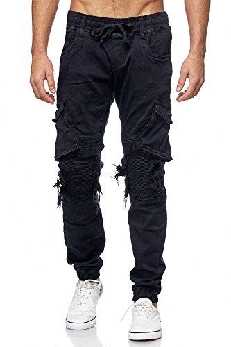 MEGASTYL Herren Cargo Jeans-Hose Olivgrün Elastischer Bund , Größe:W36 / L32, Farbe:Schwarz Destroyed (Schwarze Jeans Elastische)