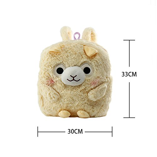 KOSBON 13 '' 3D sveglio della peluche Alpaca bambino zaino dei bambini di scuola. (Giallo) Yellow