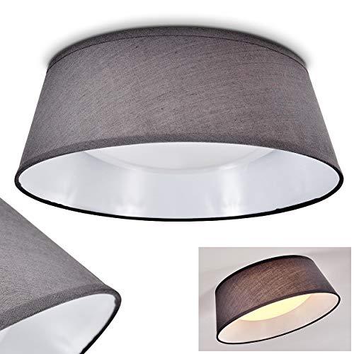 LED Deckenleuchte Negio, runde Deckenlampe mit Lampenschirm aus Stoff, Grau/Weiß, Ø 34 cm, 1 x max. 14 Watt, 1250 Lumen, Lichtfarbe 3000 Kelvin (warmweiß) -