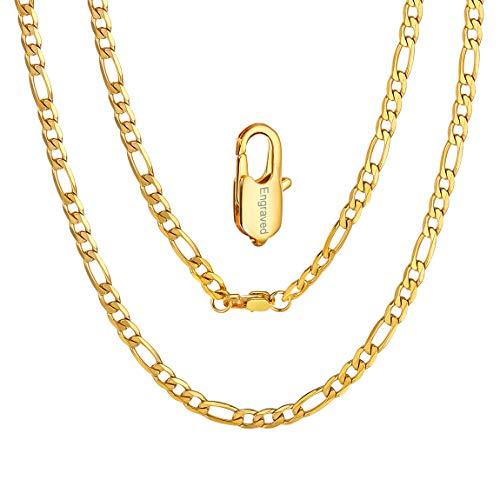 ChainsPro Damen-Halskette 925/1000 Sterlingsilber Beads Kette 4mm Breit, ohne Anhänger 925 Silber Kette 18 Karat
