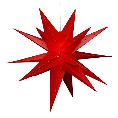 Dekohelden24 Falkensteiner Adventsstern aus Kunststoff zum aufklappen, Ø 80 cm mit 18 Spitzen, in der Farbe rot, inkl. LED Beleuchtung und Adapter, für Innen und Außen geeignet. -