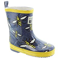 Grass And Air - Kids GA302 Bee Wellies in Navy