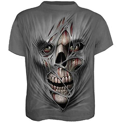 Größe XXXL - C08 - T-Shirt - Hemd - Trikot - 3D - Kurze Ärmel - Männer - Frauen - Unisex - Lustig - Geschenkidee - Zubehör - Cosplay - Maskerade - Schädel - Zombie - Mummy - Horror