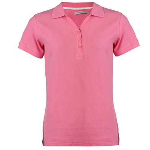 Full Circle Donna Polo T Shirt Tinta Unita Manica Corta Cotone Maglietta Rosa