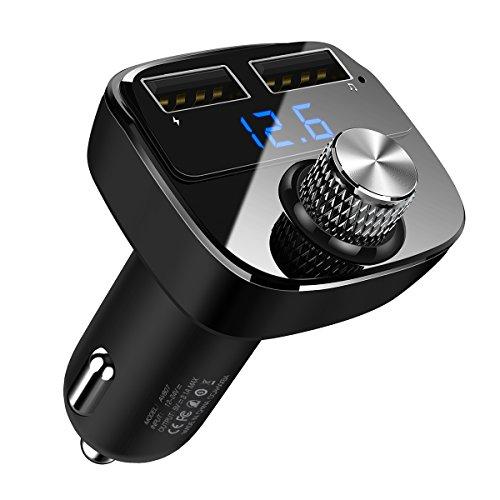 Transmetteur FM Bluetooth, Kit de Voiture Sans Fil Adaptateur Radio Chargeur de Voiture avec Double Port USB 5V/2.4A & 1A/ Fente pour carte TF pour iPhone 7 7 Plus, Galaxy S7 S6, HUAWEI P9 P8, Sony Xperia, HTC, etc Support Voiture Magnétique, 2 en 1 Ventilation/ Tableau de bord Support Telephone Voiture Universel pour iPhone X/ 8 Plus/ 8/ 7 Plus, Samsung Galaxy S8/ S8 Plus/ Note 8/ S7 Edge/ A7/ A5/ A3, etc by DIVI (Noir)