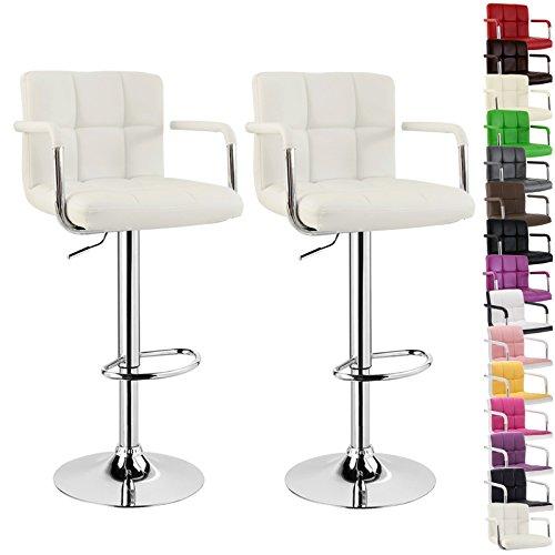 WOLTU BH16 Serie Design Barhocker mit Armlehne , 2er Set , stufenlose Höhenverstellung , verchromter Stahl , Antirutschgummi , pflegeleichter Kunstleder , gut gepolsterte Sitzfläche (Weiß)
