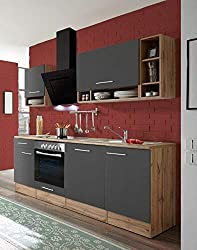 Respekta Kitchen Unit Kitchenette Kitchen Block Fitted Kitchen Fully Fitted Kitchen 220 cm Wild oak Grey Incl. Devices