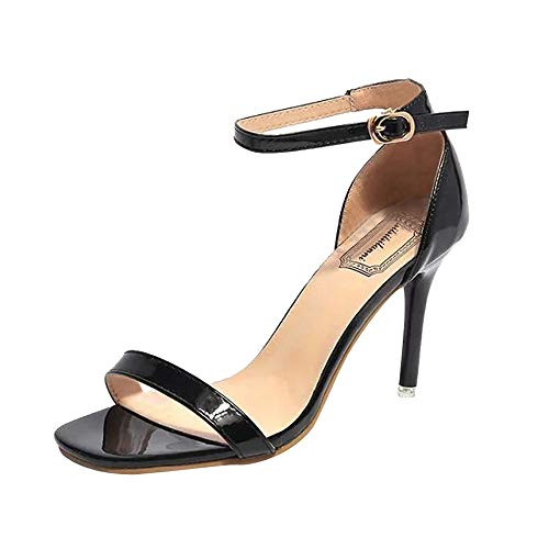 Qmber Runde Zehen Schnalle Hoch Absatz Pumps Lace Tanzschuhe Damen Brautschuhe Stiletto High Heels Peep Toe Sandaletten Mode offene Schnalle Ankle Knöchel Schnalle/Black,38 Stiletto Heel Ankle Lace
