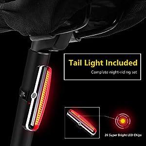Dobee Luces Bicicleta Delantera y Trasera, LED Luz Bicicleta, USB Recargable Luz Bici, Impermeable Linterna Bicicleta, Super Brillante Luces LED Bicicleta, Intermitentes Bicicleta con Batería