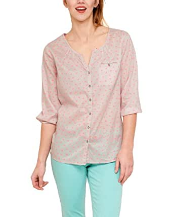 Comma CI Damen Bluse Comfort Fit, gepunktet 88.304.19.5728 BLUSE 3/4 ARM, Gr. 40 (L), Mehrfarbig (grey/pink)
