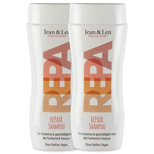 Jean & Len Shampoo Repair, intensive Pflege für angestrengte Haare, mit Repair-Effekt, 2er Pack (2 x 230 ml)