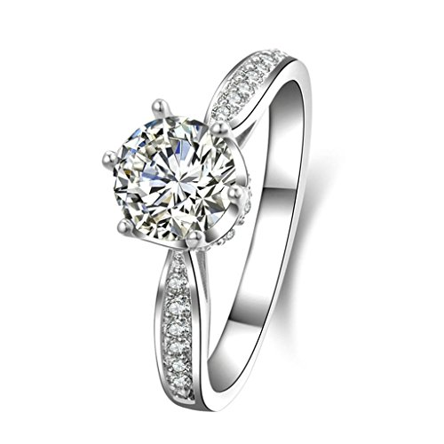 BeyDoDo Modeschmuck 925 Silber Frauen Ring Zirkonia Krone Verlobungsring Trauring Silber Ringgröße 65 (20.7)