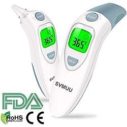 Termometro Digitale Fronte e Orecchio, Termometro a Infrarossi SVMUU, Allarme Temperatura Elevata, Multifunzione 4 in 1 per Bambini, Adulti e Oggetti, Approvato CE/ROHS/FDA