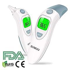 Idea Regalo - SVMUU Termometro Digitale Fronte e Orecchio, Termometro a Infrarossi, Allarme Temperatura Elevata, Multifunzione 4 in 1 per Bambini, Adulti e Oggetti, Approvato CE/ROHS/FDA