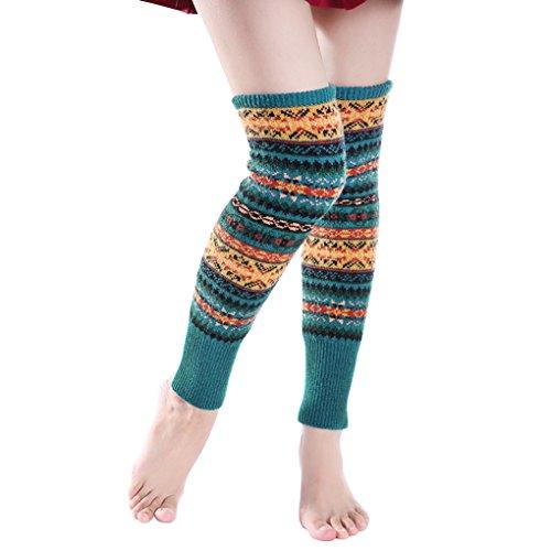 JIAHG Damen Gestrickte Bein Stulpen Knielang Socken Lange Overknee Strümpfe Strümpfe beinwärmer Böhme Beinlinge Knie Boot Abdeckung Stiefelsocken
