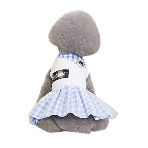 JKRTR New Haustier Frühling Sommer 2019,Kostüme atmungsaktiv einfache Neue Kariertes Hemd(Weiß,M) (Einfach Ein Kostüm Olive)