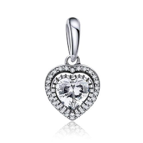 Featherwish - ciondolo a forma di cuore, in argento sterling 925, con zirconia cubica, compatibile con braccialetti pandora