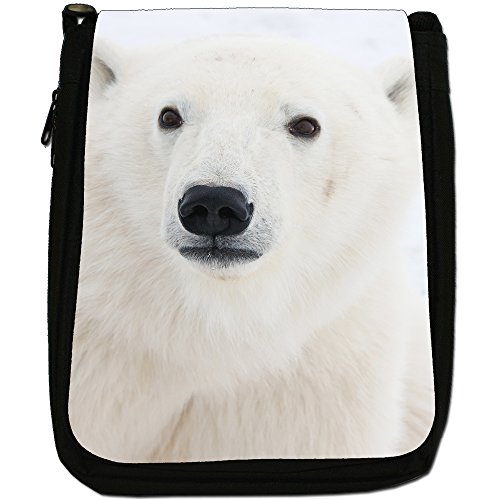Polar Bears Media Nero Borsa In Tela, taglia M Polar Bear Face Close Up