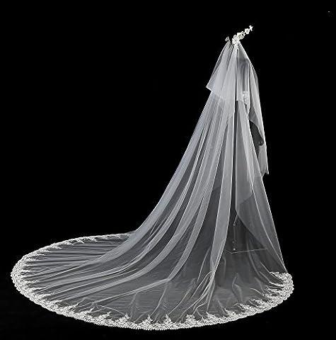 ANNA&JOE Brautschleier lange Schleier Spitze Brautkrone fünf Meter handgemachte Blumenarrangements langer Schwanz Kathedrale Schleier , white , 5m