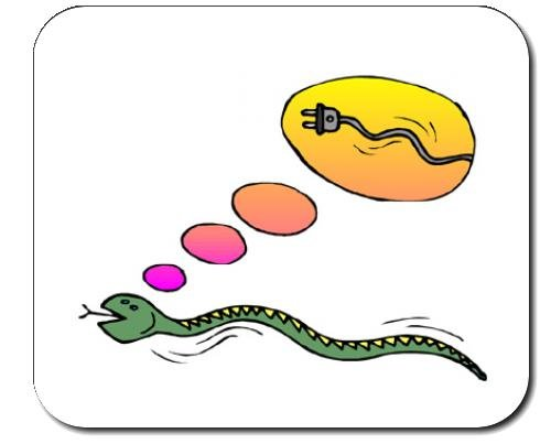 Mauspad mit der Grafik: Elektro, Träumen, Idee, Stecker, Schlange, Schnur - Elektro-schlangen